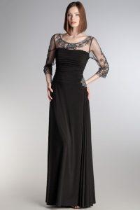 uzun siyah abiye modelleri
