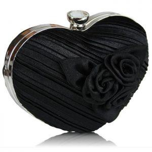 kalp biçimli siyah gece çantası
