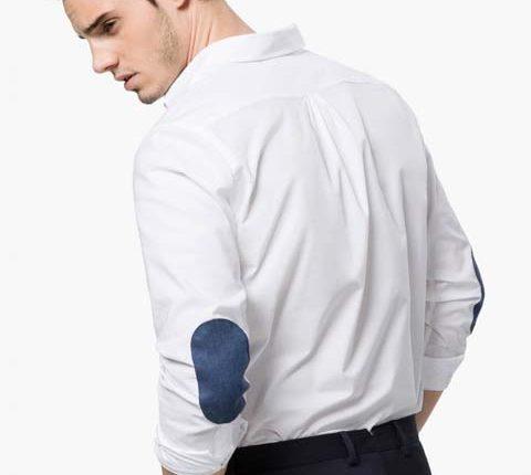 dirsek yamalı beyaz gömlek