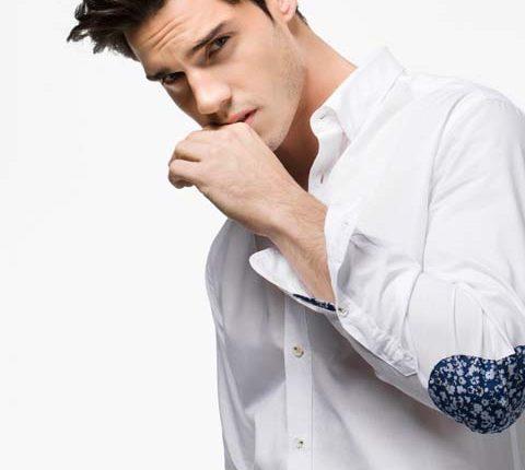 dirsek yamalı beyaz gömlek-massimo dutti