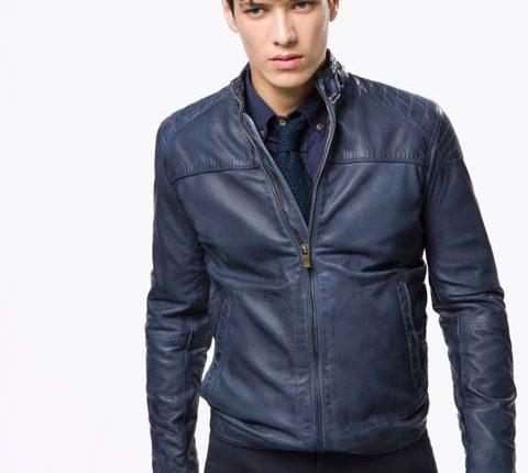 koyu mavi deri ceket