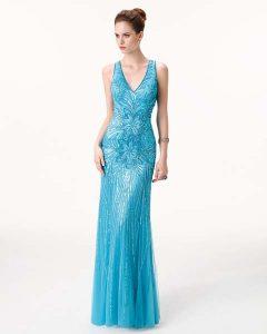 mavi gece elbisesi