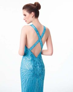 mavi gece elbisesi modelleri