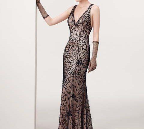 v yakalı uzun abiye elbise