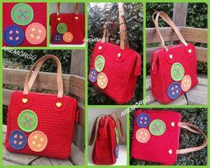 desenli kırmızı çanta - arem örgü