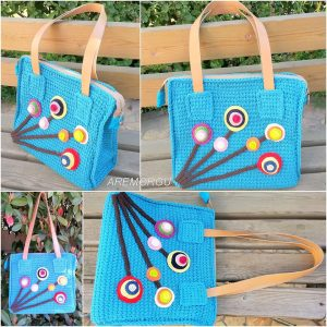 mavi örgü çanta - arem örgü
