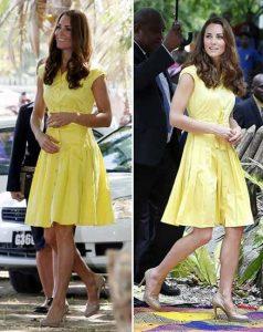 Kate Middleton - sarı kloş elbise