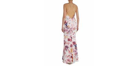 çiçek desenli uzun abiye elbise