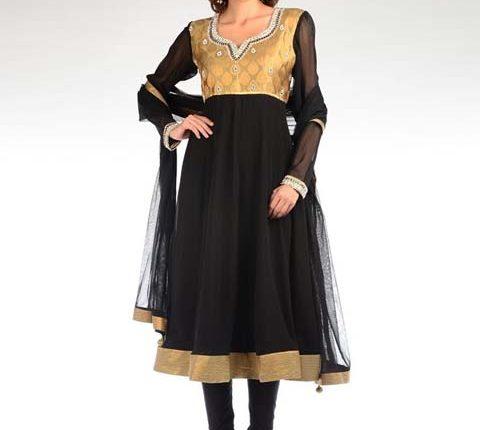 siyah – dore hint elbisesi