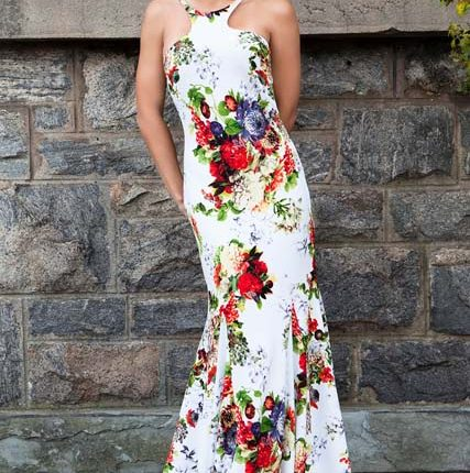 floral desenli uzun abiye
