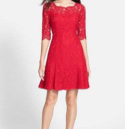 dantelli kırmızı elbise