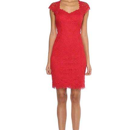 dantelli kırmızı elbise-Beymen