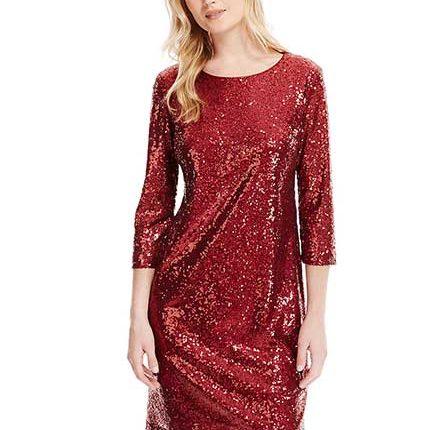 payetli kırmızı elbise