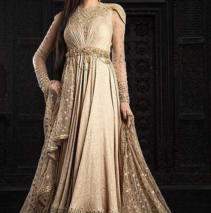 cream Anarkali suit